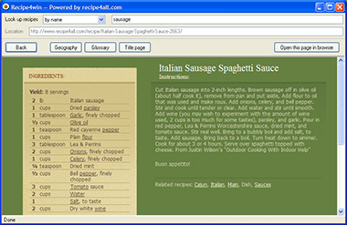 Recipe4win recipe browser